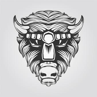 Bull line art zwart en wit