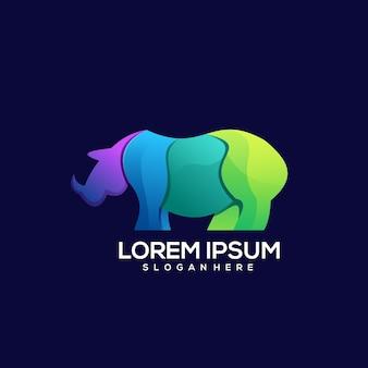 Bull logo gradiënt kleurrijke illustrator