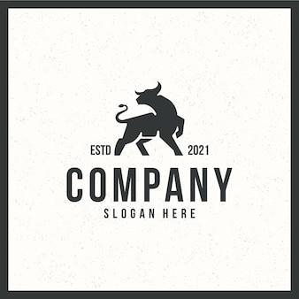 Bull-logo, sterk, retro, vintage, zwart en wit kleurenconcept