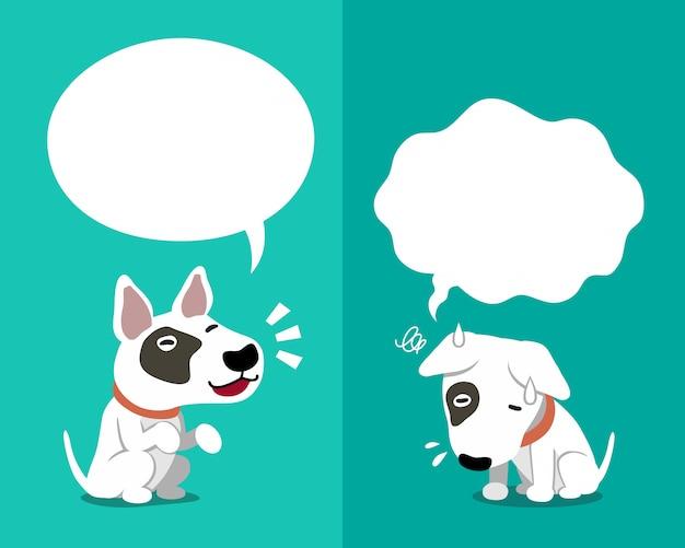 Bull terrier-hond die verschillende emoties uitdrukken