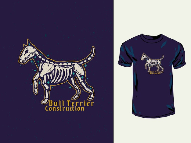 Bull terrier skull hand getrokken illustratie