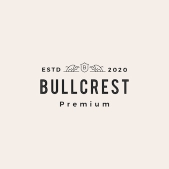 Bull wapenschild hipster vintage logo pictogram illustratie
