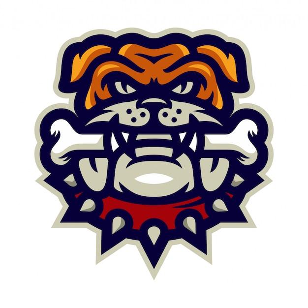 Bulldog bijten bot mascotte logo vectorillustratie