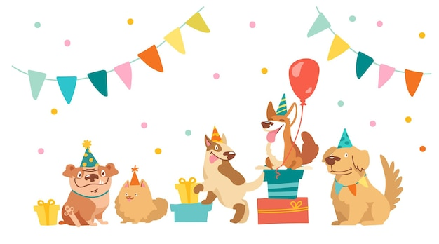 Bulldog-, bull terrier-, corgi- en spitz-personages vieren een happy birthday party. leuke kawaii-honden met ballonnen voor vakantieuitrusting, geschenken en vlaggenslingers, kinderontwerp. cartoon vectorillustratie
