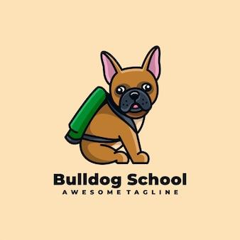 Bulldog cartoon schattig logo ontwerp