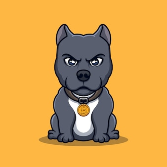 Bulldog crypto creatief cartoon-logo-ontwerp