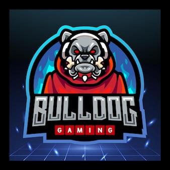 Bulldog gaming mascotte esport logo ontwerp
