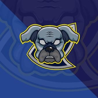 Bulldog head esport mascot logo voor esport gaming en sport premium gratis vector