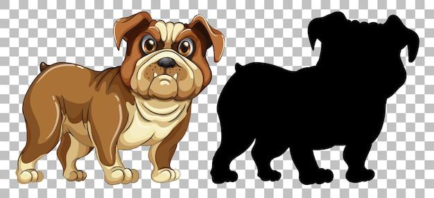 Bulldog-hond en zijn silhouet