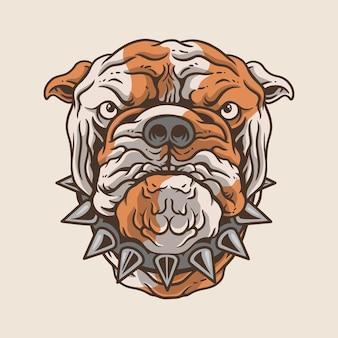 Bulldog hond hoofd sticker logo