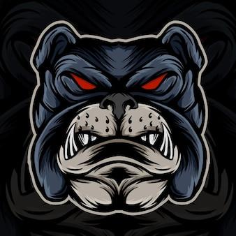Bulldog hoofd illustratie