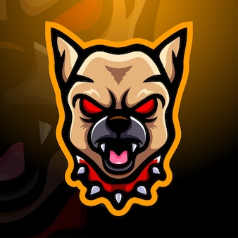 Bulldog hoofd mascotte esport illustratie