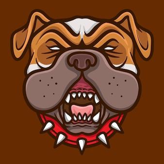 Bulldog karakter hoofd logo esport illustrator