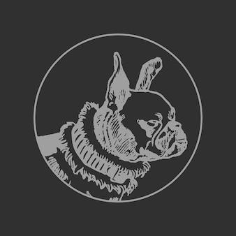Bulldog-logo, ronde badge sticker vector, geremixt van kunstwerken van moriz jung