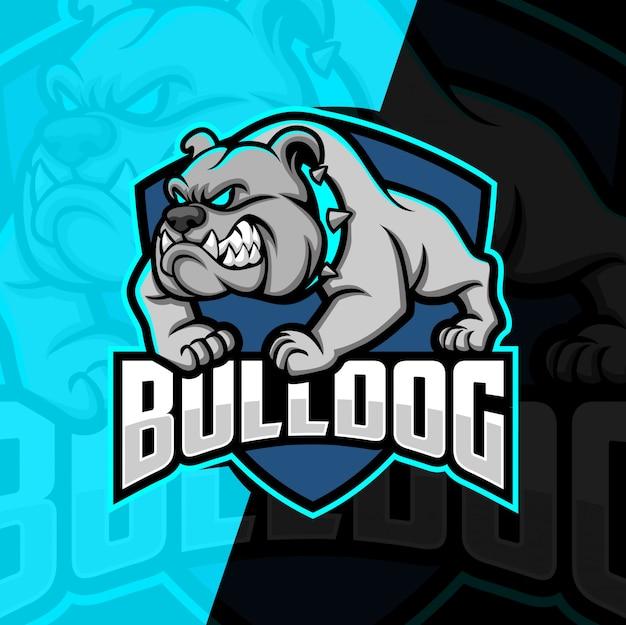 Bulldog mascotte esport logo ontwerp