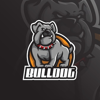 Bulldog mascotte logo designwith moderne illustratie conceptstijl voor badge, embleem en t-shirt afdrukken.