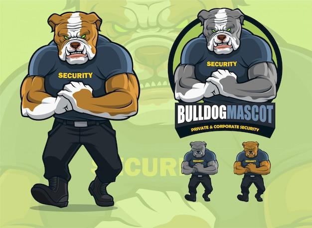 Bulldog-mascotte voor beveiligingsbedrijven met alternatieve kleuren.