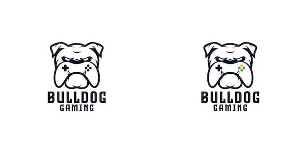 Bulldog met game controller logo ontwerpsjabloon