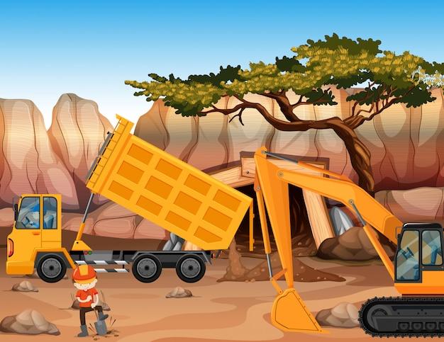 Bulldozer en dumpende vrachtwagen op het veld