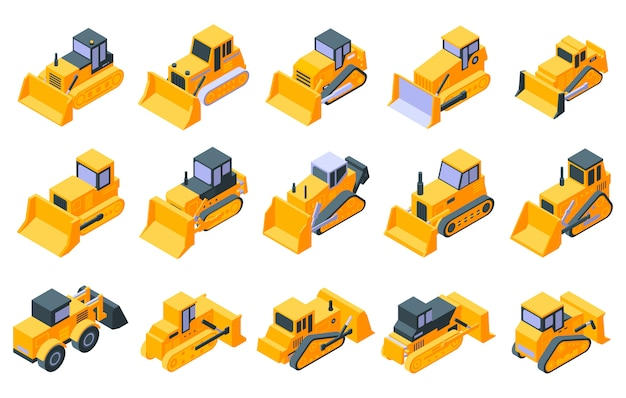 Bulldozer iconen set, isometrische stijl