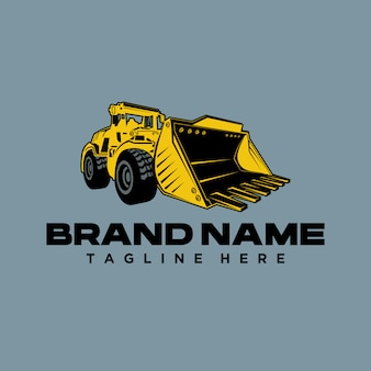 Bulldozer opgraving logo sjabloon
