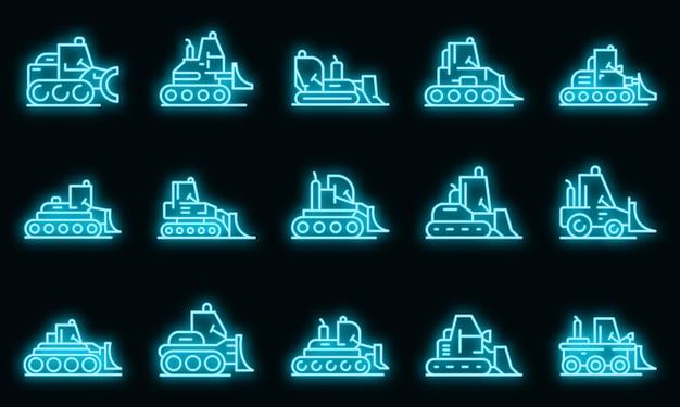 Bulldozer pictogrammen instellen. overzicht set bulldozer vector iconen neon kleur op zwart