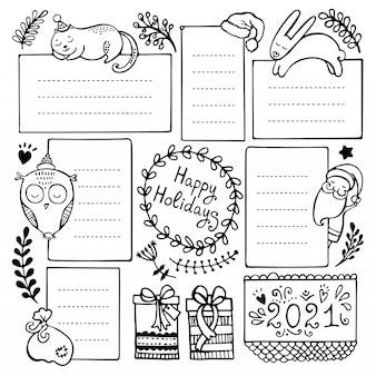 Bullet dagboek hand getekend vectorelementen voor notebook