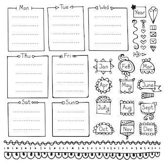 Bullet dagboek handgetekende vectorelementen voor notebook, dagboek en planner.