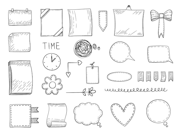 Bullet journaal. handgetekende kaders, randen en scheidingslijnen, notitiesjablonen voor persoonlijke notitieboekjes