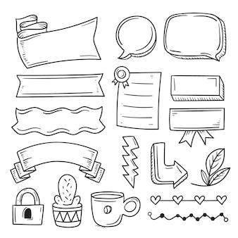 Bullet journal-elementen met verschillende lintvormen