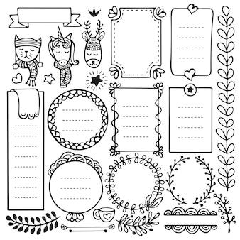 Bullet journal en kerst handgetekende elementen voor notebook, dagboek en planner. doodle frames geïsoleerd