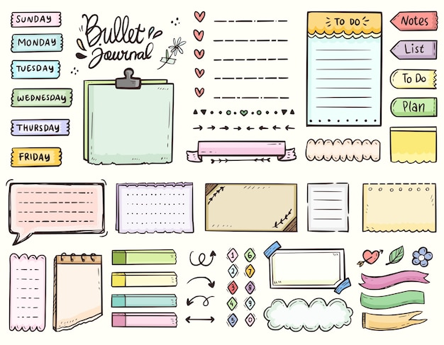 Bullet journal en kleurrijke kadernotities om de doodle-collectie van de lijstornamenttekening te doen