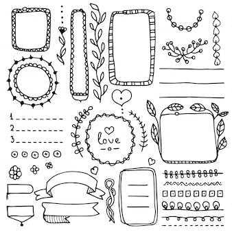 Bullet journal floral elementen. doodle banners, verdelers, linten, frames, vignetten.