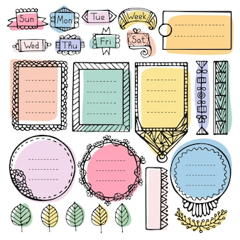 Bullet journal hand getekend vector-elementen voor notebook, dagboek en planner. doodle frames instellen geïsoleerd.