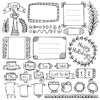 Bullet journal hand getekend vector-elementen voor notebook, dagboek en planner.