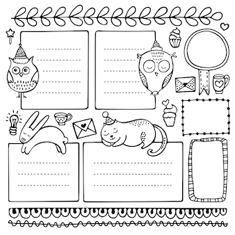 Bullet journal handgetekende elementen. set doodle frames, banners en florale elementen geïsoleerd