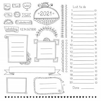 Bullet journal handgetekende elementen voor notebook, dagboek en planner. doodle banners geïsoleerd op een witte achtergrond. dagen van de week, notities, lijst, kaders, verdelers, linten.