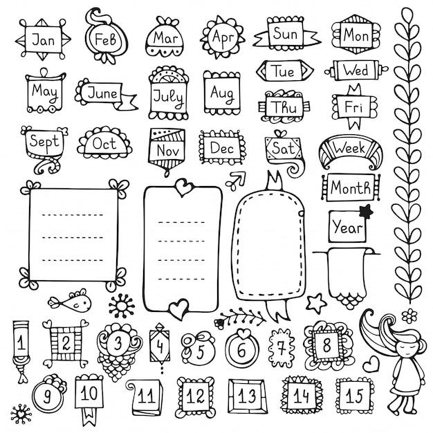 Bullet journal handgetekende elementen voor notebook, dagboek en planner. doodle frames geïsoleerd