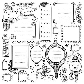 Bullet journal, kerstmis, nieuwjaar en winter handgetekende elementen voor notebook, dagboek en planner. doodle frames geïsoleerd