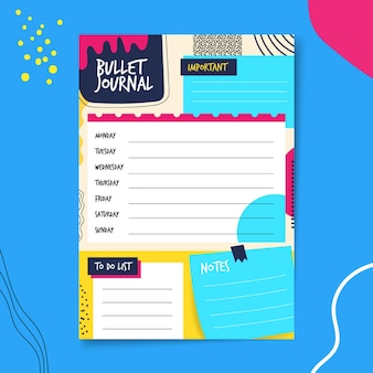 Bullet journal planner met blauwe en gele achtergrond