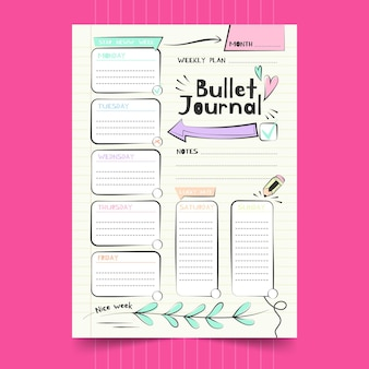Bullet journal planner sjabloon grote pijl