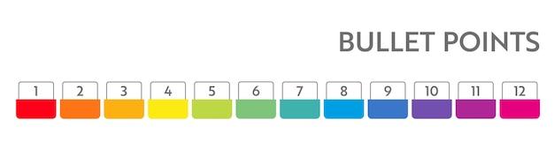 Bullet punten nummers. kleurrijke lijstmarkeringen van 1 tot 12. vectorontwerpelementen voor moderne infographic.