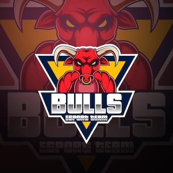 Bulls esport mascotte logo ontwerp