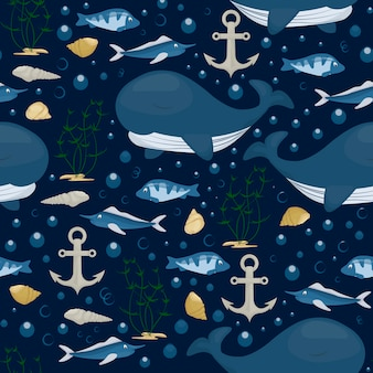 Bultrug karakter naadloze patroon. overzees zeezoogdier in blauwe oceaan