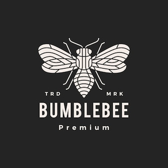 Bumble bee monoline hipster vintage logo pictogram illustratie