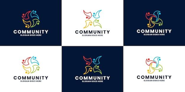Bundel abstract community-logo-ontwerp