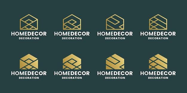 Bundel abstract huisdecoratie logo-ontwerp voor decoratiebedrijf. onroerend goed en architect