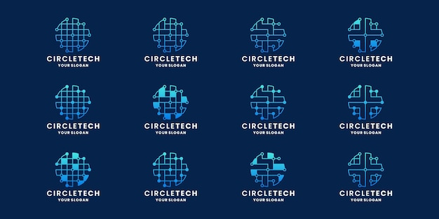 Bundel abstracte cirkel technologie concept logo ontwerp stip verbinding