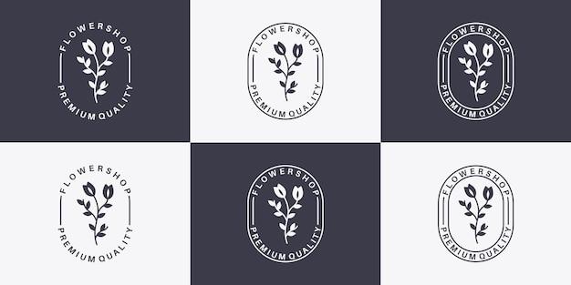 Bundel badge bloemenwinkel logo ontwerp vintage stijl voor uw bloemist
