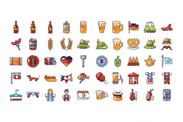 Bundel beiers festival met vastgestelde pictogrammen